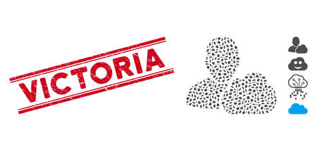 Rubber red stamp seal with Victoria phrase between double parallel lines, and mosaic user cloud icon. Mosaic vector is created from user cloud icon and with scattered elliptic elements.
