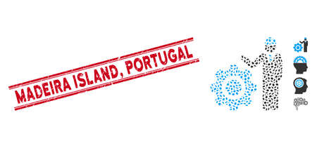 Rubber red stamp watermark with Madeira Island, Portugal text inside double parallel lines, and mosaic engineer with gear icon.