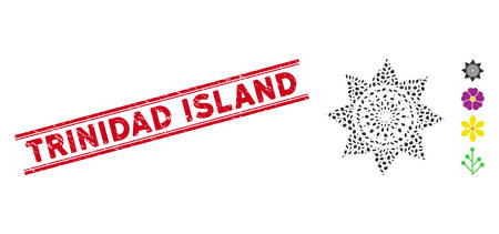 Rubber red stamp watermark with Trinidad Island text between double parallel lines, and collage sunflower flower icon. Ilustracja