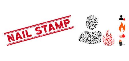 Rubber red stamp watermark with Nail Stamp text between double parallel lines, and mosaic fire icon. Mosaic vector is created with fire icon and with scattered oval elements.