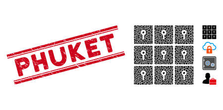 Grunge red stamp seal with Phuket caption between double parallel lines, and collage lockers icon. Mosaic vector is formed with lockers icon and with random ellipse spots.