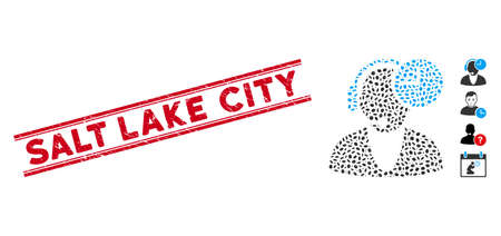 Distressed red stamp watermark with Salt Lake City caption between double parallel lines, and mosaic operator time icon.