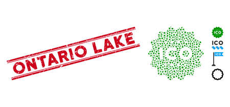 Rubber red stamp watermark with Ontario Lake phrase inside double parallel lines, and collage ICO token icon. Mosaic vector is designed with ICO token icon and with scattered oval elements. 일러스트
