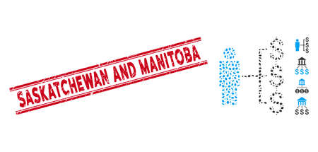 Distressed red stamp seal with Saskatchewan and Manitoba caption between double parallel lines, and mosaic person payments icon.