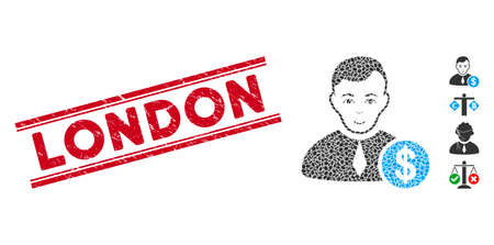 Rubber red stamp watermark with London text between double parallel lines, and mosaic commercial lawyer icon. Mosaic vector is formed from commercial lawyer icon and with random ellipse elements.