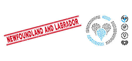 Rubber red stamp seal with Newfoundland and Labrador caption between double parallel lines, and mosaic geo location diagram icon. Vecteurs