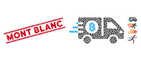 Corroded red stamp seal with Mont Blanc caption inside double parallel lines, and mosaic fast Bitcoin delivery car icon. Ilustração