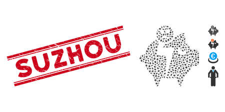 Grunge red stamp watermark with Suzhou caption inside double parallel lines, and mosaic sad bankruptcy piggy bank icon. Illustration