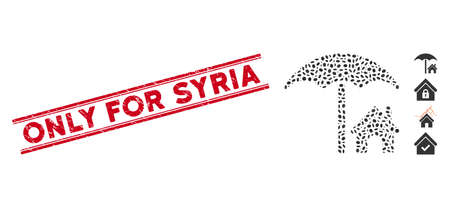Rubber red stamp watermark with Only for Syria caption between double parallel lines, and mosaic house under umbrella icon. Illustration