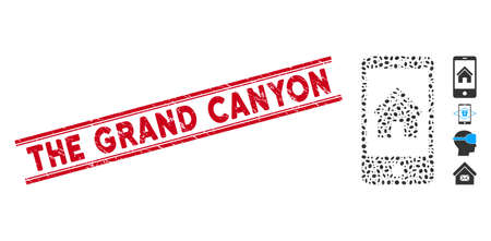 Corroded red stamp seal with The Grand Canyon text inside double parallel lines, and mosaic smartphone homepage icon. Vectores