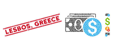 Corroded red stamp seal with Lesbos, Greece caption inside double parallel lines, and mosaic cash icon. Mosaic vector is created with cash icon and with scattered elliptic items. Lesbos,