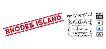 Distressed red stamp seal with Rhodes Island caption between double parallel lines, and collage movie clap icon. Mosaic vector is designed with movie clap icon and with random elliptic elements.