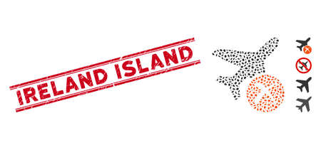 Corroded red stamp seal with Ireland Island phrase inside double parallel lines, and mosaic aircraft reject icon. Mosaic vector is formed with aircraft reject icon and with random elliptic items.