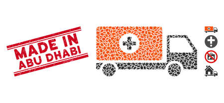 Rubber red stamp watermark with Made in Abu Dhabi text between double parallel lines, and mosaic drugs shipment icon. Mosaic vector is composed with drugs shipment icon and with random oval elements.