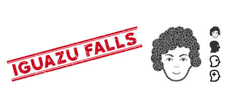 Distressed red stamp seal with Iguazu Falls phrase between double parallel lines, and mosaic hairstyle head icon. Mosaic vector is created with hairstyle head icon and with randomized ellipse items.