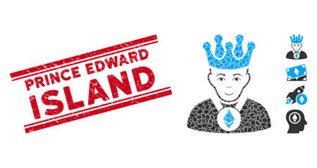 Grunge red stamp watermark with Prince Edward Island caption inside double parallel lines, and mosaic Ethereum lord icon.
