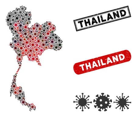 Coronavirus collage Thailand map and rubber stamp seals. Thailand map collage formed with random red and black mers symbols. Rectangle seals, with distress texture.