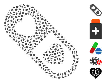 Dot Mosaic based on love pill. Mosaic vector love pill is designed with random elliptic dots.
