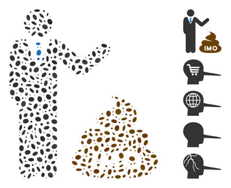 Dot Mosaic based on businessman show IMO shit. Mosaic vector businessman show IMO shit is formed with randomized elliptic spots.