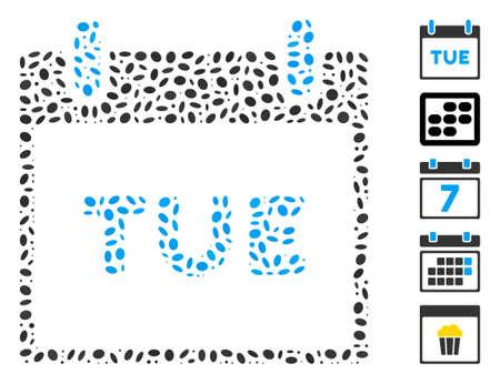 Dot Mosaic based on Tuesday calendar page. Mosaic vector Tuesday calendar page is created with scattered elliptic spots.