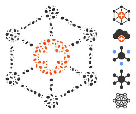 Dotted Mosaic based on medical network. Mosaic vector medical network is designed with random ellipse dots.