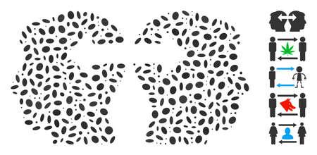 Dot Mosaic based on heads exchange arrows. Mosaic vector heads exchange arrows is created with randomized elliptic dots. Çizim