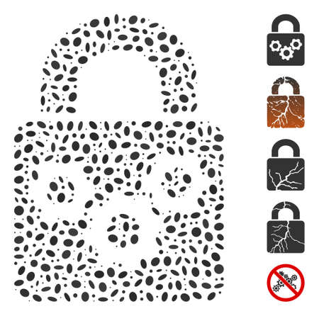 Dot Mosaic based on lock gears. Mosaic vector lock gears is created with scattered oval spots.