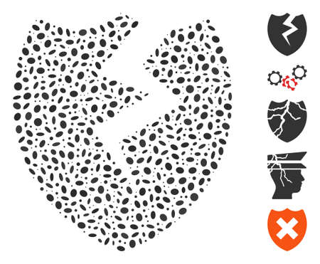 Dot Mosaic based on broken shield. Mosaic vector broken shield is created with randomized elliptic spots. Çizim
