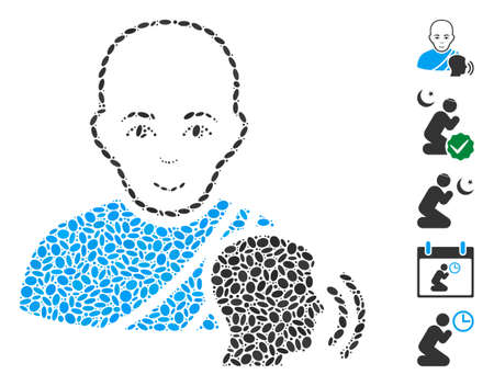 Dot Mosaic based on buddhist confession. Mosaic vector buddhist confession is created with scattered ellipse spots.