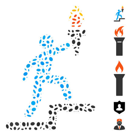 Dotted Mosaic based on leader with torch. Mosaic vector leader with torch is formed with random ellipse elements. 矢量图像