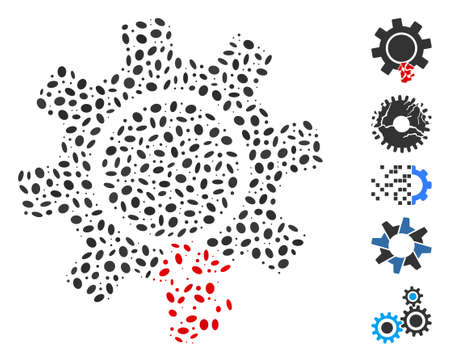 Dot Mosaic based on damaged gear tooth. Mosaic vector damaged gear tooth is designed with scattered oval elements. Çizim