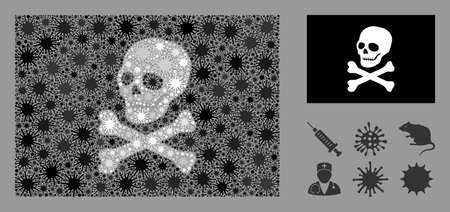 Coronavirus mosaic and flat pirate flag. Mosaic vector is created with pirate flag icon and with random microorganism objects.