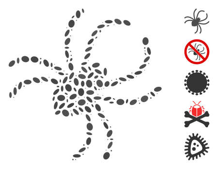 Dot Mosaic based on parasite spider. Mosaic vector parasite spider is formed with randomized elliptic items. Bonus icons are added.