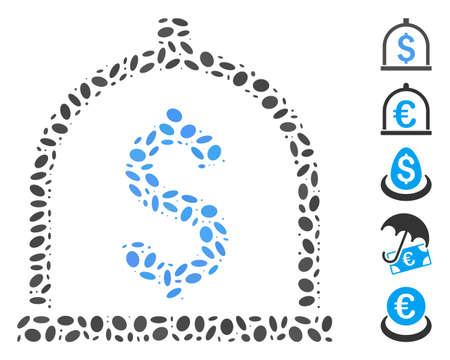 Dot Mosaic based on dollar deposit. Mosaic vector dollar deposit is designed with random oval dots. Bonus icons are added.