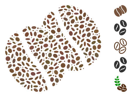 Dotted Mosaic based on coffee beans. Mosaic vector coffee beans is designed with randomized ellipse dots. Bonus icons are added.