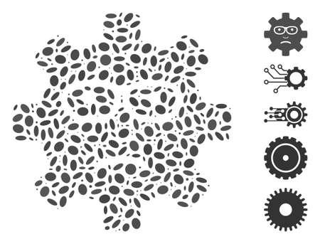 Dot Mosaic based on service gear sad smile. Mosaic vector service gear sad smile is composed with random ellipse elements. Bonus icons are added. Ilustração