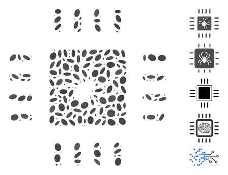 Dot Mosaic based on processor bug. Mosaic vector processor bug is formed with randomized ellipse dots. Bonus icons are added. Illustration