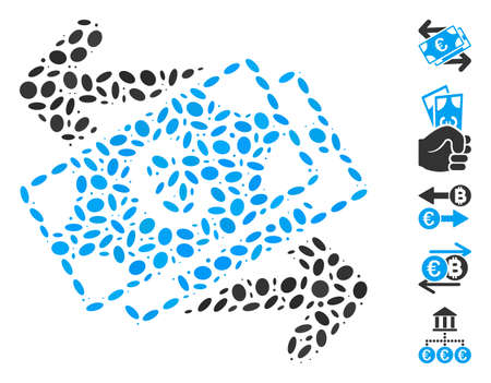 Dotted Mosaic based on Euro banknotes payments. Mosaic vector Euro banknotes payments is composed with random elliptic items. Bonus icons are added.
