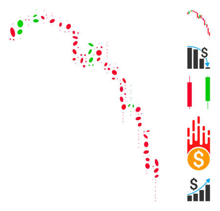 Dotted Mosaic based on candlestick falling acceleration chart. Mosaic vector candlestick falling acceleration chart is composed with random ellipse spots. Bonus icons are added.