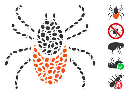 Dotted Mosaic based on mite tick. Mosaic vector mite tick is formed with scattered ellipse items. Bonus icons are added.