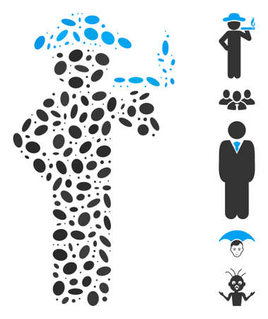 Dotted Mosaic based on smoking gentleman. Mosaic vector smoking gentleman is formed with randomized elliptic dots. Bonus icons are added. Illustration