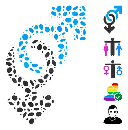 Dot Mosaic based on gay symbol. Mosaic vector gay symbol is designed with scattered elliptic elements. Bonus icons are added. Illustration