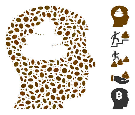 Dot Mosaic based on shit brains head. Mosaic vector shit brains head is formed with random elliptic items. Bonus icons are added. Illustration