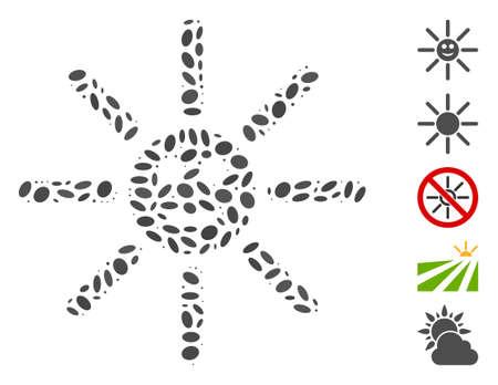 Dot Mosaic based on happy sun rays. Mosaic vector happy sun rays is created with randomized ellipse elements. Bonus icons are added.