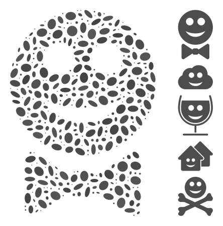 Dotted Mosaic based on glad waiter. Mosaic vector glad waiter is formed with randomized oval elements. Bonus icons are added.