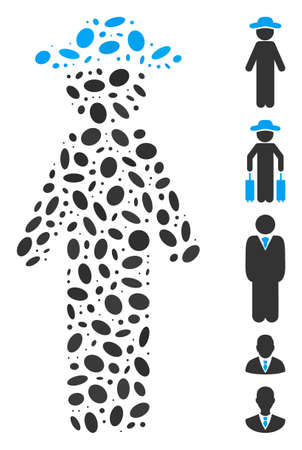 Dotted Mosaic based on standing gentleman. Mosaic vector standing gentleman is composed with randomized elliptic spots. Bonus icons are added.
