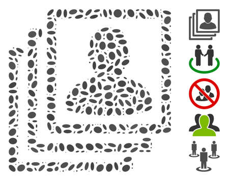 Dotted Mosaic based on user accounts. Mosaic vector user accounts is composed with randomized oval elements. Bonus icons are added.