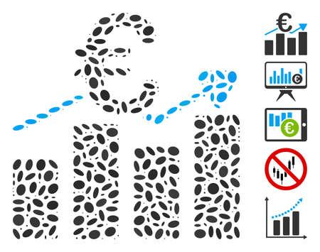 Dotted Mosaic based on Euro business bar chart. Mosaic vector Euro business bar chart is created with randomized ellipse elements. Bonus icons are added.