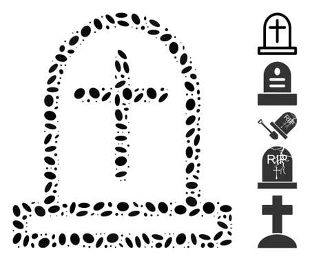 Dotted Mosaic based on tombstone. Mosaic vector tombstone is formed with random ellipse spots. Bonus icons are added.