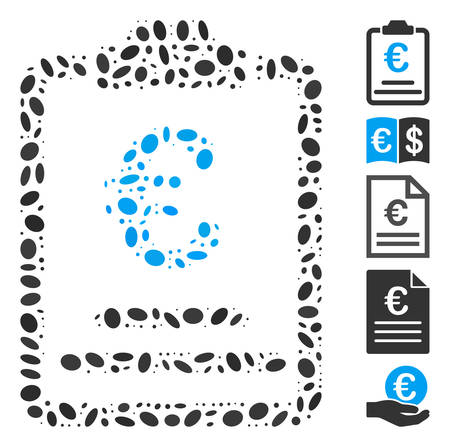 Dotted Mosaic based on Euro prices. Mosaic vector Euro prices is designed with scattered oval elements. Bonus icons are added.